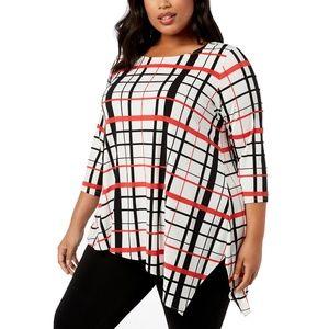 Alfani PlusSize Plaid Asymmetrical Jersey Knit Top